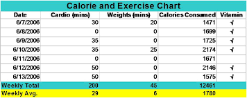 The Savory Notebook Calorie And Exercise Chart