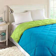 reversible lime green and turquoise down comforter with white wooden sets