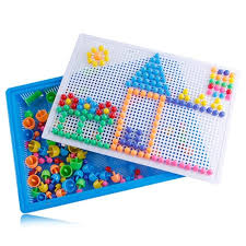 chic diy educational mushroom nails puzzle toy set 296pcs for children