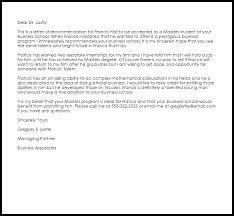 Letter Bussines Business School Recommendation Letter Example Letter Samples