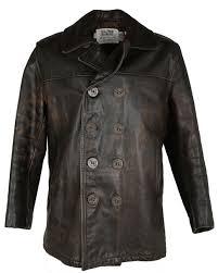 brown leather schott us 740n pea jacket l image