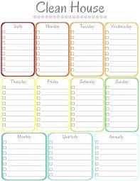 Housekeeping Schedule Template Word Organizer House Chores Schedule