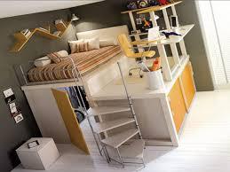 bedroom gray steel loft bed with blue white zebra sheet change desk to bedroom furniture bedroom loft furniture