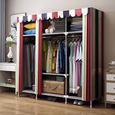 hhaini bold portable stainless steel clothes closet reinforced folding wardrobe armoire huge home rack storage organizer with shelves stainless steel