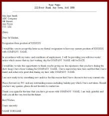 Resignation Letter: Formal Resignation Letter Sample With Notice ...