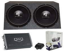 car subwoofers 2 hifonics hfx12d4 12 1600w car dvc subwoofers angled box amp wiring