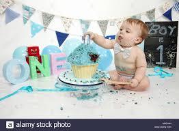 1 Year Old Boy Cake Design 1 Year Old Boy Birthday Party Cake Smash Fun Food Stock
