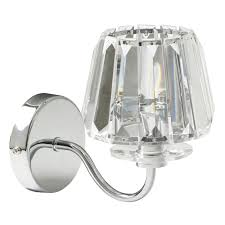 capri chrome wall light with clear glass shade view large