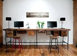 industrial style home office. Industrial Home Office Desk Rustic Wooden Two Seat Style A