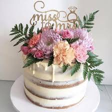 Miss To Mrs Bridal Shower Cake Topper With Diamond Ring Detail