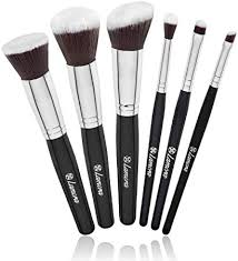 travel makeup brush set professional kit with 6 essential face and eye makeup brushes