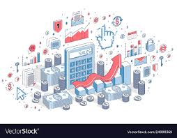 Calculator With Earnings Growth Chart Isolated On