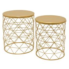 three hands 20 in gold metal accent table set of 2 64397 the metal drum accent table pottery barn hayes mirror top metal accent coffee table by inspire q
