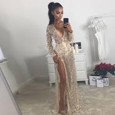 Gold Longsleeve Maxi Bodycon Dress Bandage Dress Wolddress Com