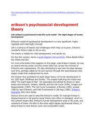 Eriksons Psychosocial Development Theory