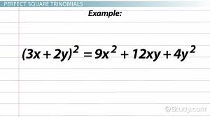 perfect square trinomial definition formula examples