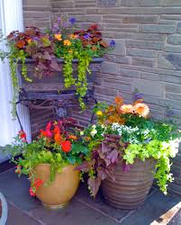 Flower Pots Ideas for Front Porch : Awesome Flowers Pots Design With Brown  Round And Square