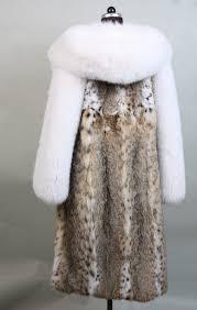 bobcat lynx fur coat hood full length white fox fur sleeves