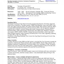 Sap Abap Resumes 2 Years Experience Free Download Best of Resume Template Sap Fico Sample Resumes Formidable Freshers Format