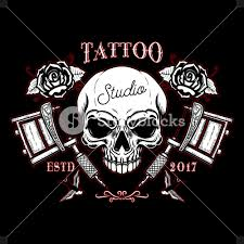 Tattoo Studio Emblem Template Crossed Tattoo Machine Skull Design