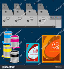 Offset Machine Color Paint Print Cyan Stock Vector 300631361
