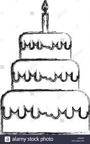Birthday Cake Drawing Sketch Draw Birthday Cake Cartoon Stock Vector