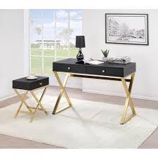 writing desk w drawer storage x shape legs black brass home office furniture
