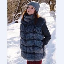 swenearo fur women high imitation silver fox fur coat women fake fur vest pu sleeves warm