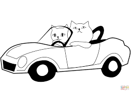 Cat Drives a Car coloring page | Free Printable Coloring Pages