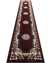 E Traditional Long Runner Area Rug Burgundy Design Kingdom  123 32 Inch X 15  Feet