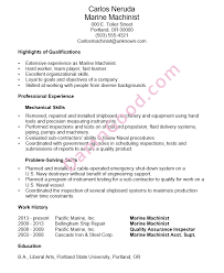 Resume Example Marine Machinist