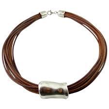 silpada modernist sterling silver slider on brown leather cords venus vintage jewelry ruby lane