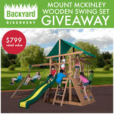 we ve teamed up with some of our favorite bloggers to give away a mount mckinley wooden swing set from backyard discovery