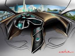 Two Worlds in One Nissan Interior Concept Sketch