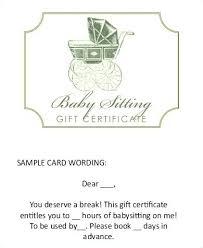 Free Babysitting Gift Certificate Template Prinsesa Co