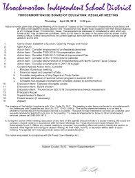 Throckmorton Collegiate Isd - Throckmorton School Board Agendas And ...