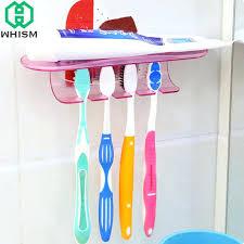 wall toothbrush holder self adhesive seamless toothbrush holder plastic tooth brush storage rack wall mount toothpaste shelf bathroom