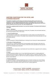 Catering Agreement Uniform Conditions For The Hotel And Catering Industry