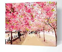cherry blossom painting pictures painting by numbers cherry blossom flowers digital oil painting on canvas landscape