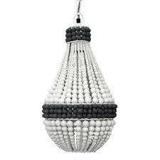 black white wooden boho beaded chandelier light shade pendant ay duck