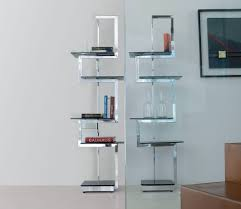 Modern Standing Metal Based Bookcase With Black Glass Shelves Cool Bookcases  Plus Ideas