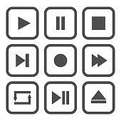 Media Player Control Buttons Set Play Pause Stop Record Forward ...