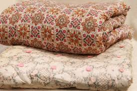 shabby chic vintage print cotton quilt comforters, soft warm tied ... & shabby chic vintage print cotton quilt comforters, soft warm tied quilts  bedspreads Adamdwight.com