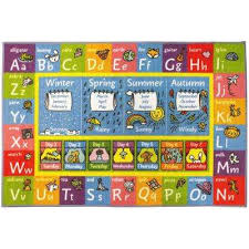 multi color kids children bedroom abc alphabet seasons months educational learning 8 ft x