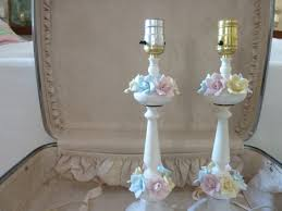 shabby chic lighting ideas. simple decoration shabby chic lamp stand with flower and painted white color ideas lighting