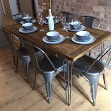 new handmade bespoke rustic retro industrial table and 6 chairs with metal hairpin legs