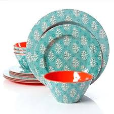 studio piece melamine dinnerware set aqua sets dish outdoor uk