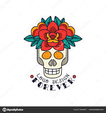 Classic American Design Human Skull Flowers And Word Forever Classic American Old