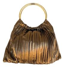 plisset bronze leather bag with round handle