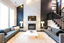 white stacked stone exterior veneer for fireplace